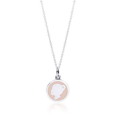 Tiffany & Co. Girl Tag圓形少女肖像粉色琺瑯造型純銀項鍊