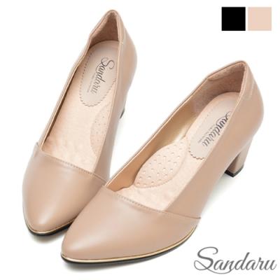 山打努SANDARU-OL中跟鞋 金線滾邊尖頭粗跟鞋-可可