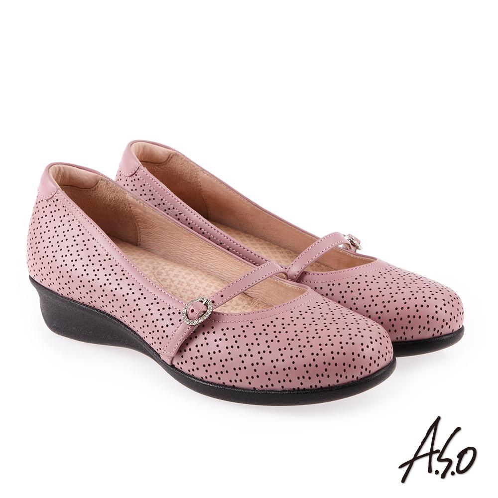 A.S.O 舒適典雅 全真皮圓楦休閒氣墊鞋 粉