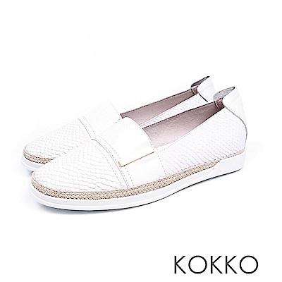 KOKKO - 極度舒適簡約草編懶人真皮休閒鞋 - 椰奶白