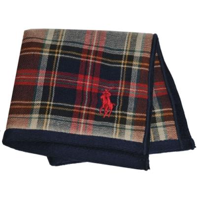 RALPH LAUREN POLO 刺繡LOGO格紋雙面用小方巾(深藍系)