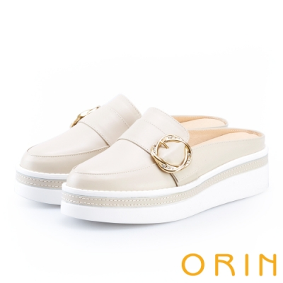 ORIN 五金水鑽牛皮厚底穆勒鞋 米色