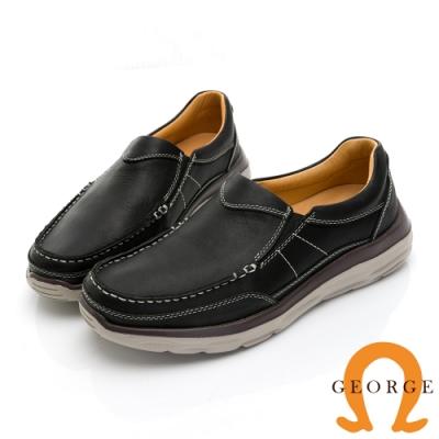 GEORGE喬治皮鞋 輕量系列 超輕反毛皮直套式休閒鞋 -黑