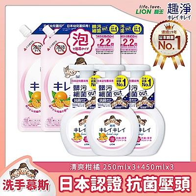 日本獅王LION 趣淨 抗菌洗手慕斯 清爽柑橘250mlx3+450mlx3