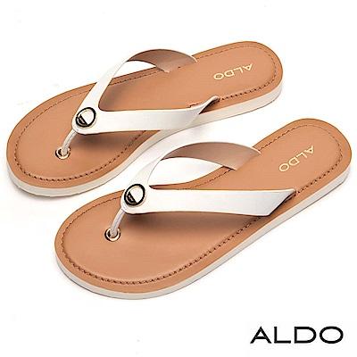 ALDO 金屬圓環人字形夾腳涼鞋~清新白色