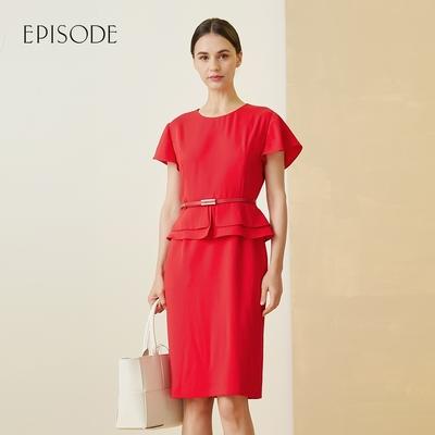 EPISODE - 知性優雅小圓領荷葉邊修身短袖洋裝(紅)