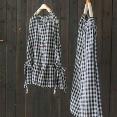 格子套裝棉麻兩件套背心上衣寬管七分褲-設計所在