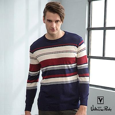 Valentino Rudy范倫鐵諾.路迪-男士時尚圓領針織衫-丈藍紅