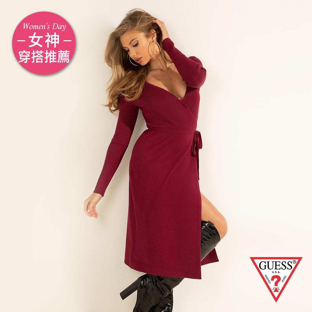 GUESS-女裝-性感V領收腰綁帶針織洋裝-酒紅 原價3490