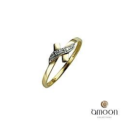amoon 浪漫雙子星系列 約定 K金鑽石戒指