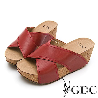 GDC-歐美質感真皮大牌交叉舒適厚底拖鞋-紅
