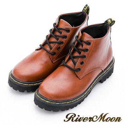 River&Moon加大尺碼短靴-經典綁帶縫線短筒馬丁靴-咖棕