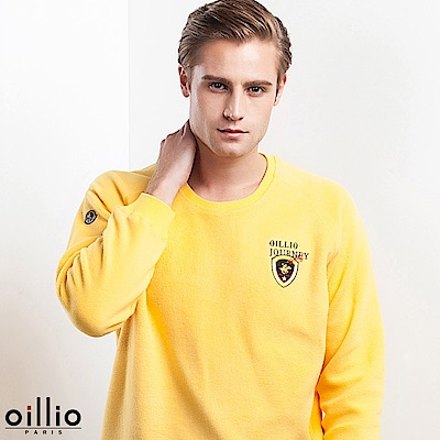 歐洲貴族 oillio 長袖T恤 超輕柔質感 內刷毛保暖 黃色