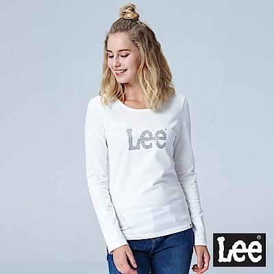 Lee 繡花LOGO長袖圓領TEE-白色