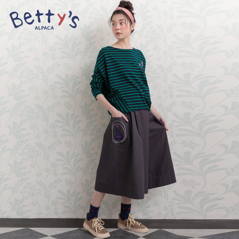 betty's貝蒂思 腰間半鬆緊刺繡九分寬褲(深灰) @ Y!購物