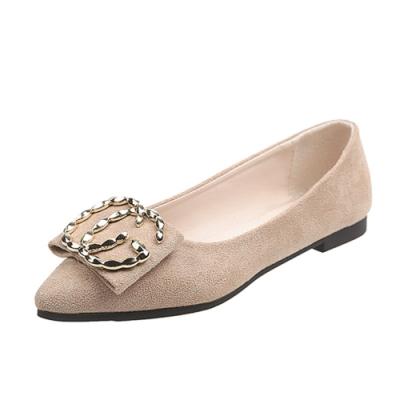 KEITH-WILL時尚鞋館 英倫帥氣皮扣平底鞋-米色