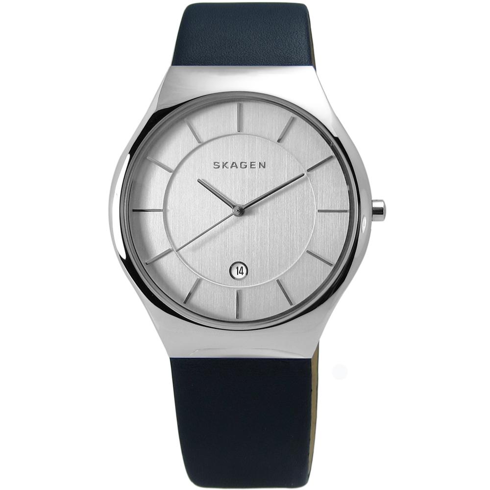 SKAGEN Grenen 紳士輪廓輕薄皮革手錶-銀x深藍色/40mm @ Y!購物