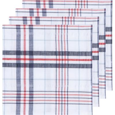《NOW》方形餐巾4入(紅藍格)