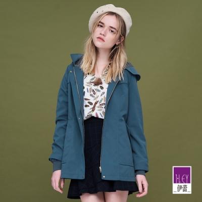 ILEY伊蕾 簡約不易皺質感連帽風衣外套(可/粉/藍)