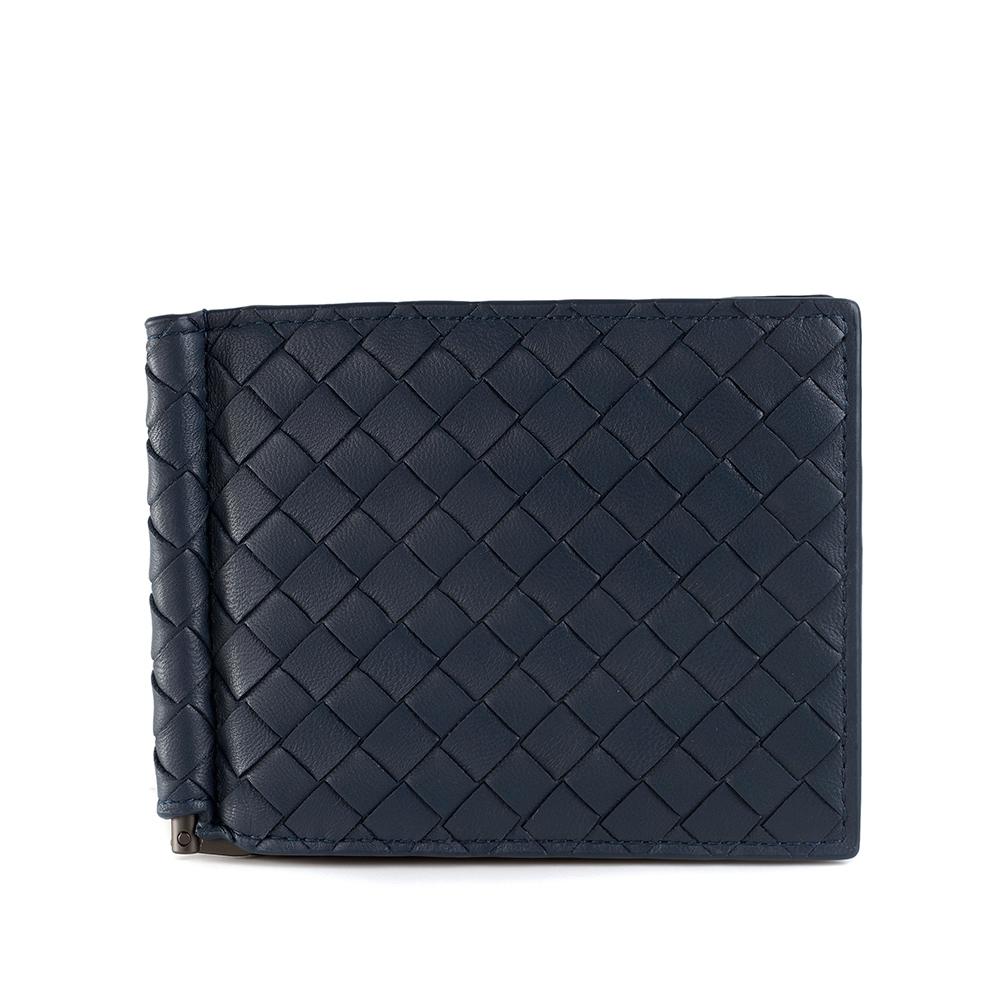 BOTTEGA VENETA 經典編織小羊皮軸釦萬用卡夾/短夾 (藍色)