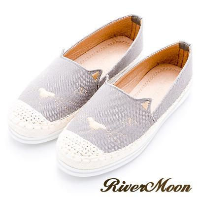 River&Moon懶人鞋-繡線貓咪麻編豆豆休閒鞋-灰系