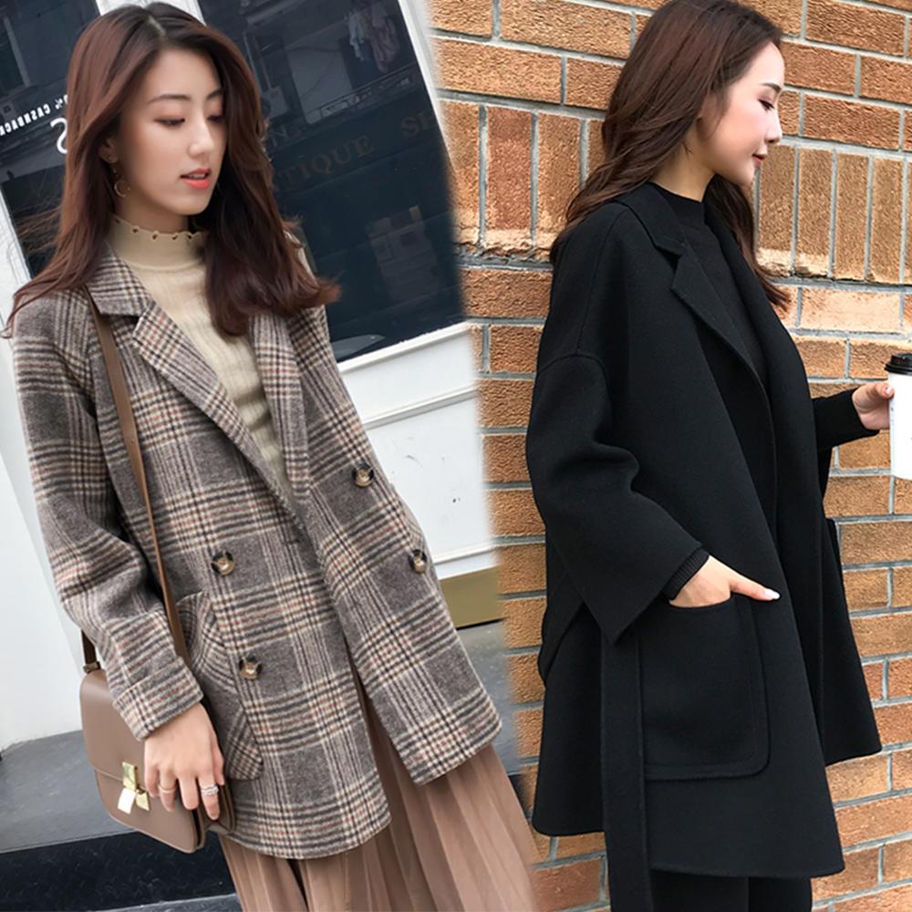 [時時樂限定] ROCU 復古保暖毛呢大衣-共4款-(M-2XL可選)