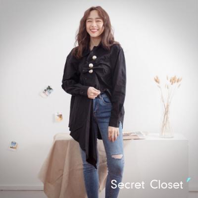 Secret Closet-韓版不規則珍珠皺褶襯衫