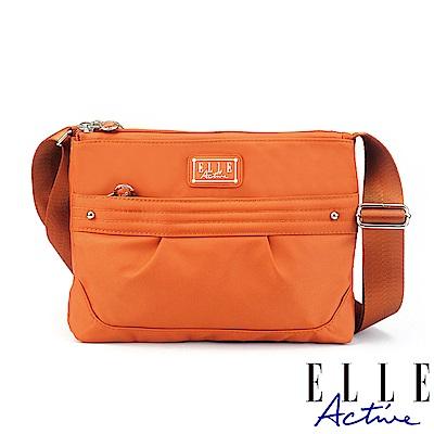 ELLE Active 優雅隨行系列-多夾層側背包/斜背包-橘色