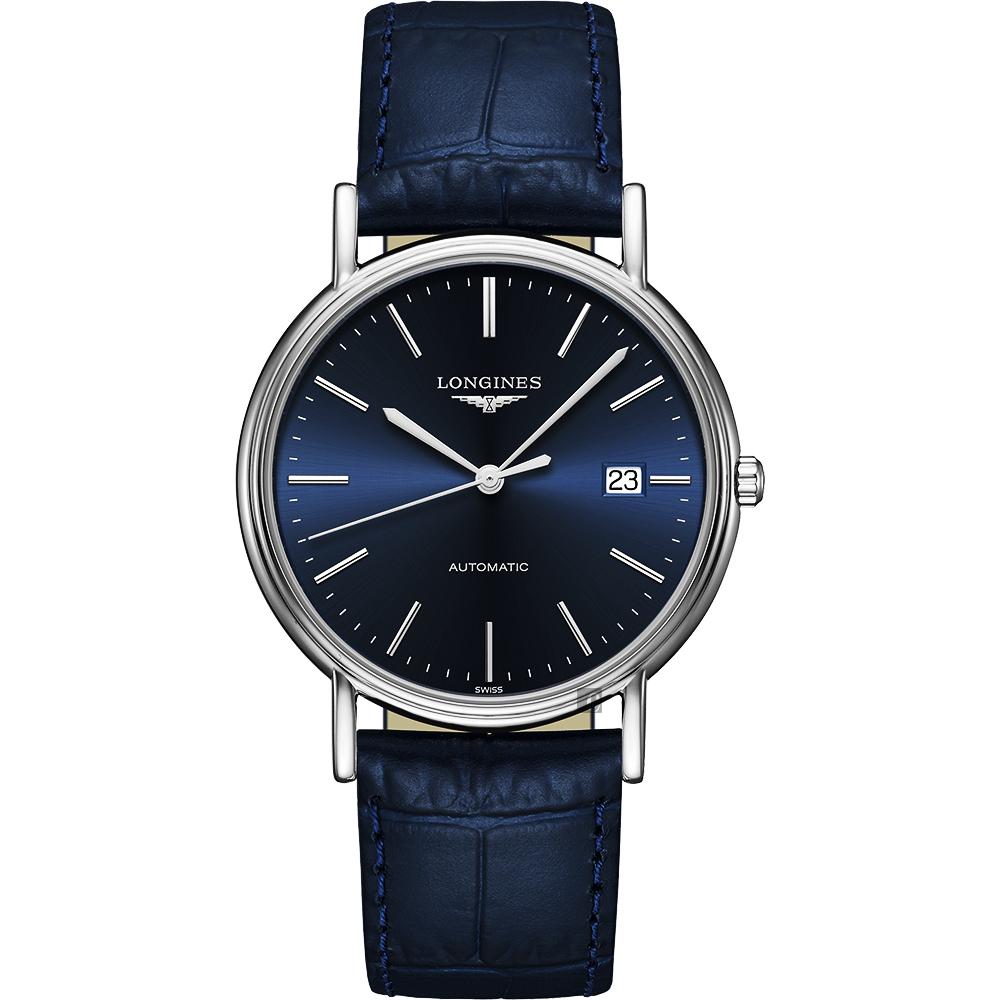 LONGINES浪琴 Presence 經典機械錶-藍/38.5mm L49214922