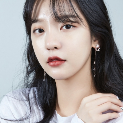 梨花HaNA 韓國925銀甜美夢花園彩鑽貝石長款耳環