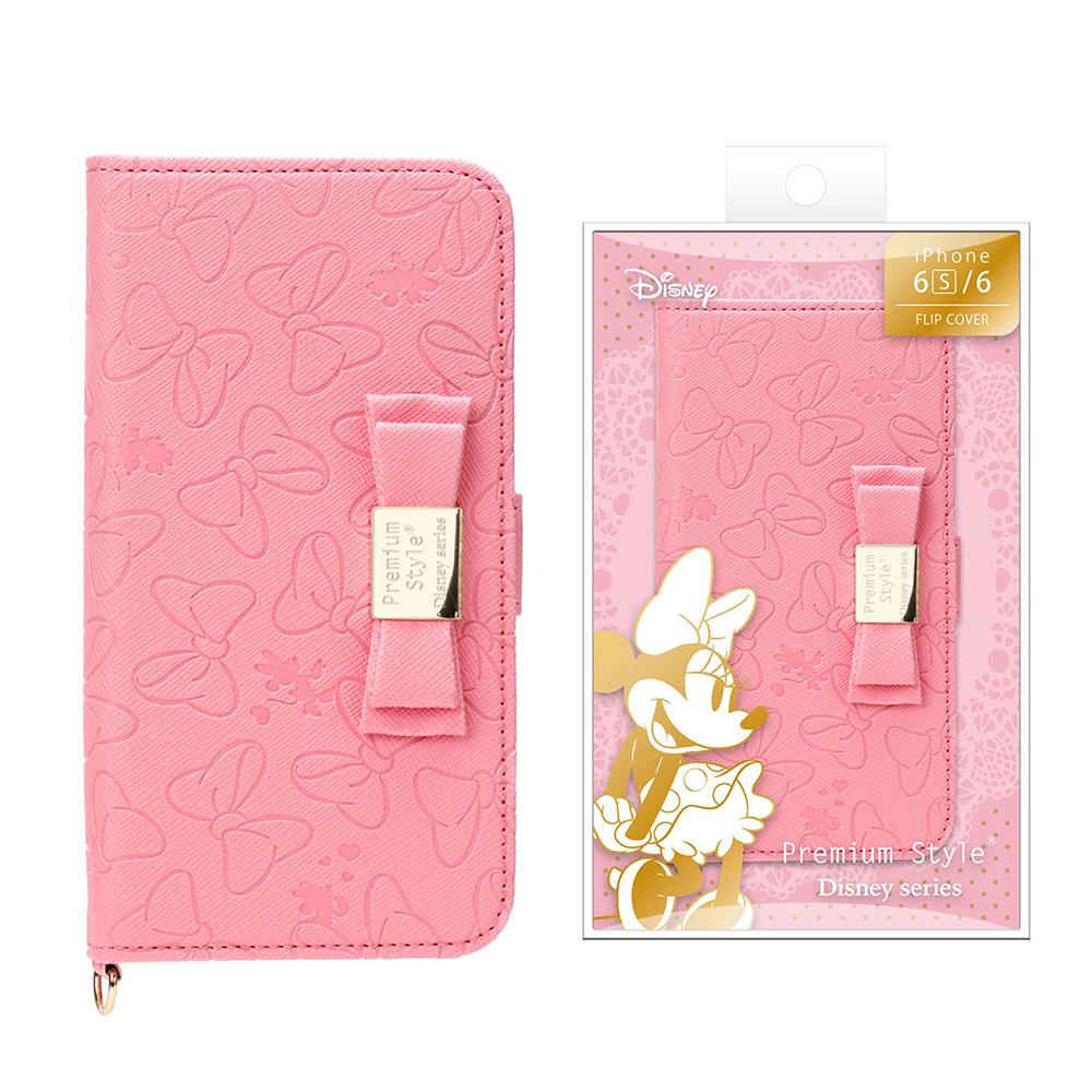 PGA iPhone 6S/6 4.7吋 迪士尼 米妮 立體蝴蝶結 壓花 側翻皮套
