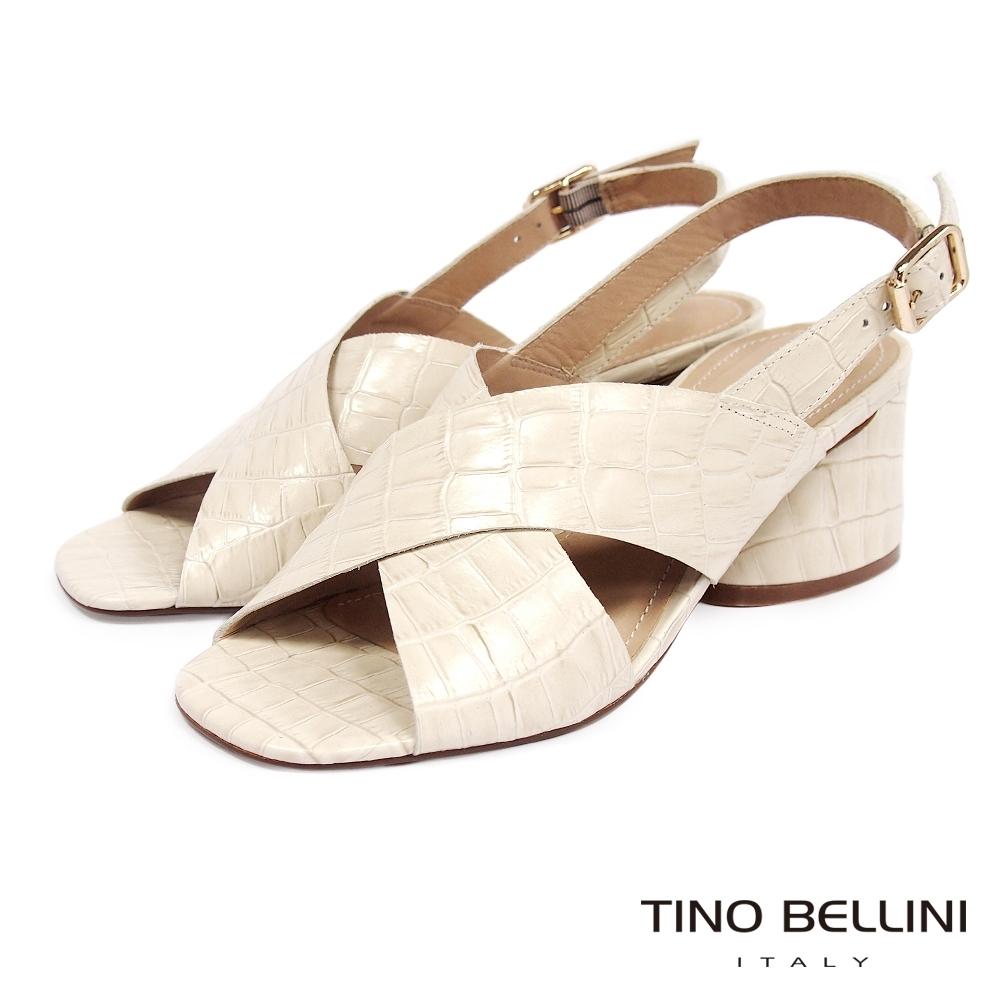 Tino Bellini 巴西進口復古摩登石頭紋粗跟涼拖鞋-米白