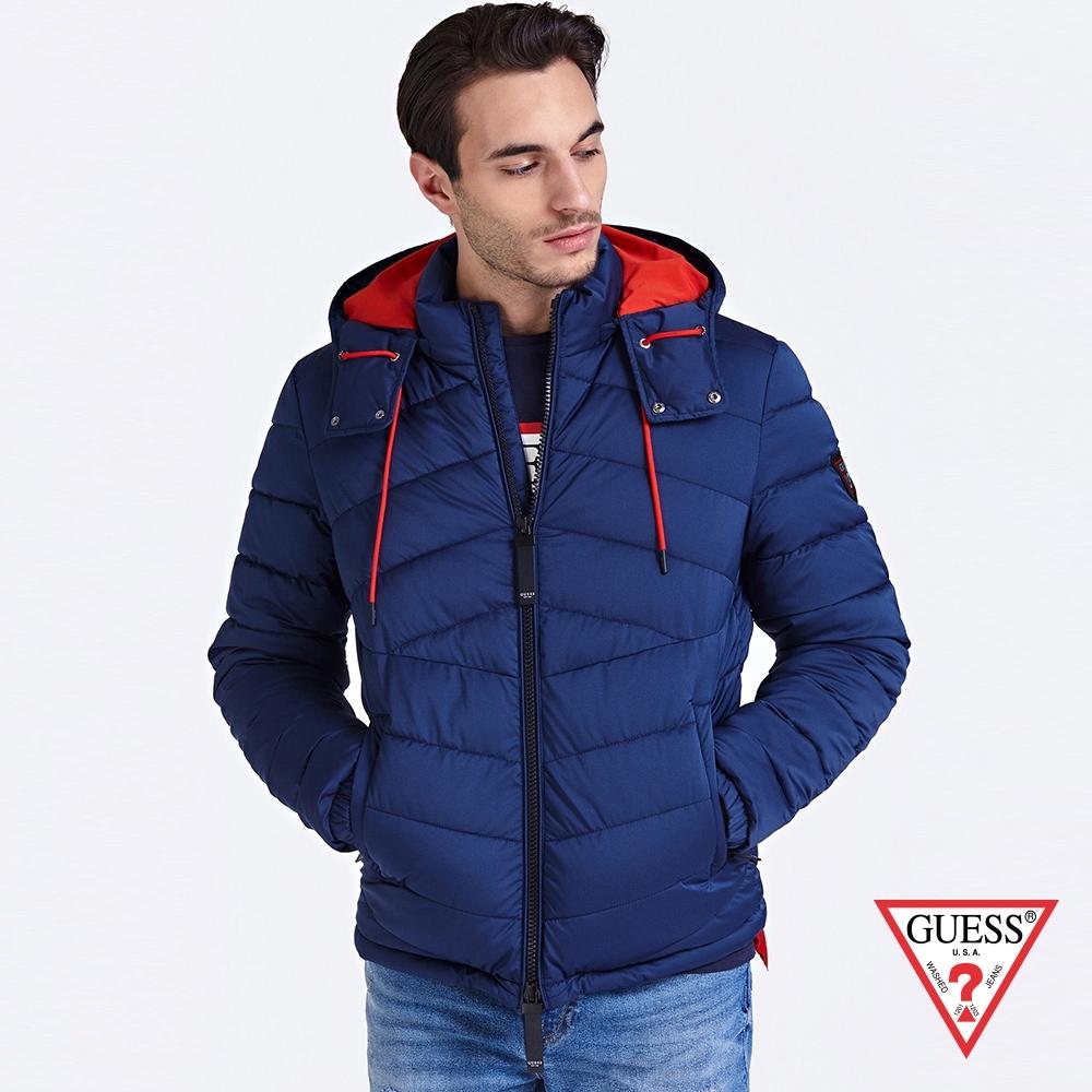 GUESS-男裝-極輕鋪棉連帽外套-藍 原價4990