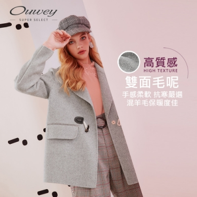 OUWEY歐薇 質感羊毛雙面呢牛角釦大衣外套(灰)