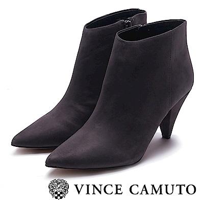 VINCE CAMUTO 尖頭素面梯形高跟踝靴-絨灰