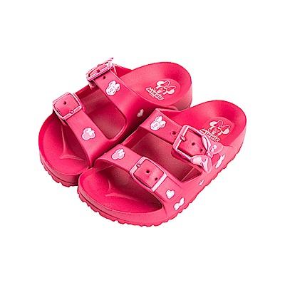 迪士尼童鞋 米妮 造型帶扣防水拖鞋-桃