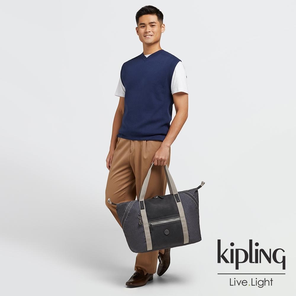 Kipling 花崗石質感灰手提側背包-ART M