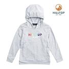 【hilltop山頂鳥】童款吸濕快乾彈性抗菌保暖刷毛上衣H51C90淺灰