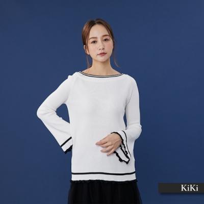 【KiKi】浪漫荷葉造型-針織衫(三色)