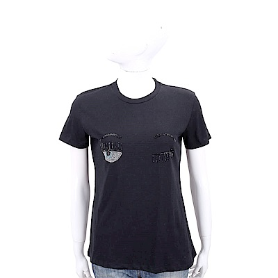 Chiara Ferragni Flirting 眨眼貼飾黑色棉質短T恤