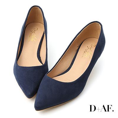 D+AF 典雅秋氛.素面絨料低跟尖頭鞋*藍
