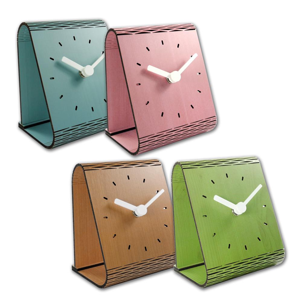 現代居家 木紋 日式 餐廳客廳臥室床頭 桌上型 靜音座鐘 時鐘 - 四色任選
