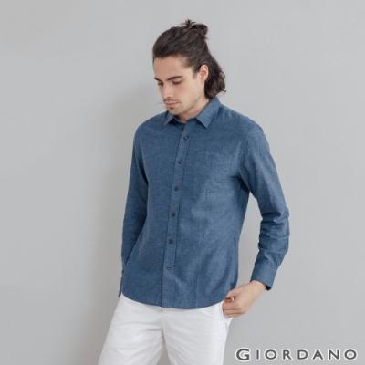 GIORDANO 男裝棉麻長袖襯衫 - 13 中藍