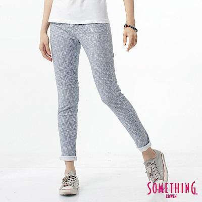 SOMETHING LADIVA伸縮窄直筒牛仔褲-女-淡藍