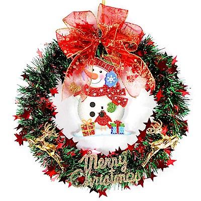 摩達客 台灣製14吋紅綠金蔥聖誕星星花圈-可愛雪人款(本島免運費)