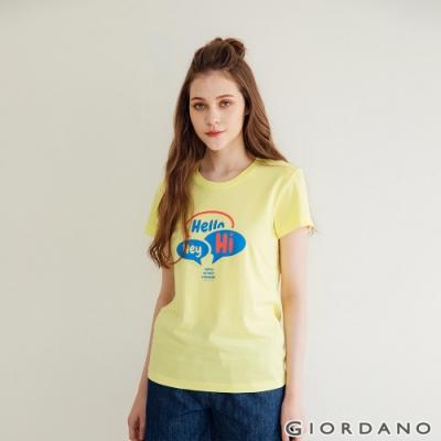 GIORDANO  女裝Greeting印花T恤 - 09 極光黃