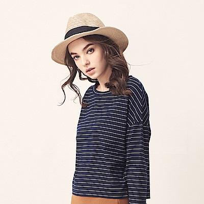 CACO-條紋寬鬆舒適上衣(五色)-女