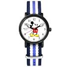 Disney 迪士尼 米奇手指針 米妮 兒童卡通 尼龍手錶-白x黑框x紫藍/29mm