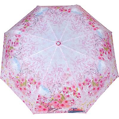 wepon阿里山櫻花三折自動傘-粉紅