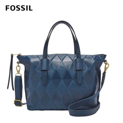 FOSSIL Skylar 菱格紋真皮質感兩用水餃包-星空藍 SHB2661497